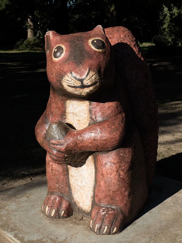 Concrete squirrel in Beckenham Place Park restored